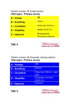 Patient number  10  (Inside wreck) Vital signs  /  Primary survey