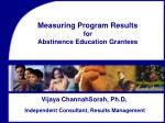 Measuring Program Results for Abstinence Education Grantees