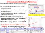 RPC operation and Hardware Performance