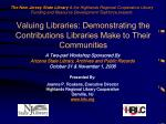 Valuing Libraries: Demonstrating the Contributions Libraries Make to Their Communities