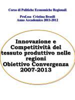 Corso di Politiche Economiche Regionali Prof.ssa  Cristina Brasili Anno Accademico 2011-2012