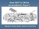 How NOT to Write an Academic Paper?