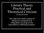 Literary Theory Practical and Theoretical Criticism (Critical Lens)