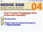 REDOX EQM Standard Hydrogen Electrode and Measurement of Electrode Potentials