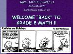 """WELCOME """"BACK"""" TO GRADE 8 MATH !!"""