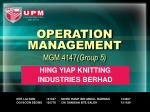 OPERATION MANAGEMENT MGM 4147 (Group 5)