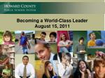 Becoming a World-Class Leader August 15, 2011