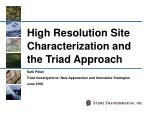 High Resolution Site Characterization and the Triad Approach