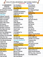 DULUTH BLUEGRASS JAM SONG INDEX 11-3-10 FOCUS SONGS NEW SONGS