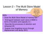 Lesson 2 – The Multi Store Model of Memory