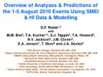 Overview of Analyses & Predictions of the 1-5 August 2010 Events Using SMEI & HI Data & Modelling