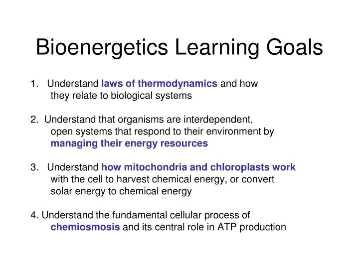 bioenergetics learning goals n.