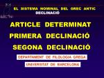 EL SISTEMA NOMINAL DEL GREC ANTIC