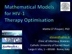 Mathematical Models for HIV-1 Therapy Optimisation