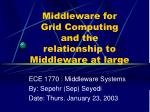 Middleware for  Grid Computing  and the relationship to Middleware at large