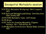 Geospatial Metadata session