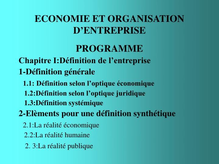 economie et organisation d entreprise n.