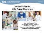 Introduction to U.S. Drug Shortages