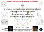 Approches transformationnelles en théorie et analyse musicales