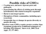 Possible risks of GMO-s