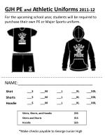 GJH PE and Athletic Uniforms 2011-12