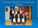 European Studies at Carrickfergus College
