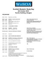 Scottish Obstetric Study Day 6th October 2014 Teacher Building, Glasgow PROGRAMME