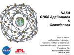 NASA GNSS Applications & Geosciences