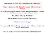 Welcome to EEB 390 - Evolutionary Biology