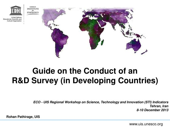 guide on the conduct of an r d survey in developing countries n.