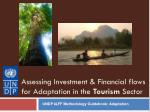 Assessing Investment & Financial flows for Adaptation in the Tourism Sector