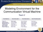 Modeling Environment for the Communication Virtual Machine