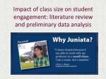 Impact of class size on student engagement: literature review and preliminary data analysis